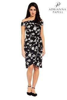 Adrianna Papell Black Living Blooms Tie Waist Sheath Dress