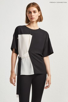 French Connection Black Edeline Light Mix Sleeve Tee