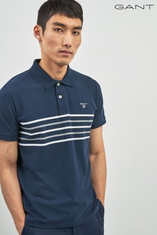 GANT Navy Chest Stripe Short Sleeve Polo