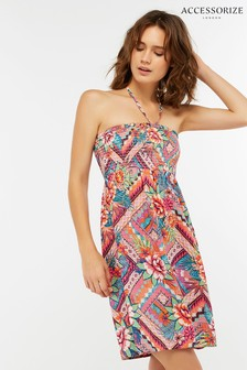 Accessorize Pink Mozambique Printed Bandeau Dress