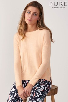 Pure Collection Orange Toccato Relaxed Split Hem Sweater