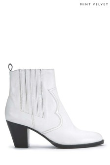 Mint Velvet White Sophie Stitch Cowboy Boot