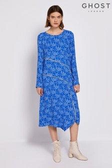Ghost London Blue Alchemy Printed Crepe Dress