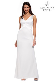 Adrianna Papell Ivory Long Knit Crepe Dress