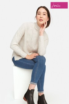 Joules Marl Fallon Funnel Neck Cable Knit Jumper