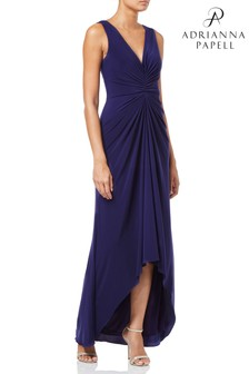 Adrianna Papell Blue Jersey Draped Dress
