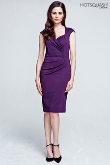 HotSquash Damson Short Sleeved Dress With Cross Over Top