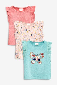 Butterfly Embroidered Frill Vest Three Pack (3mths-7yrs)