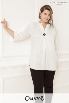 Live Unlimited Ivory Stripe Blouse With Side Splits