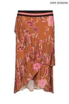 Sofie Schnoor Burnt Orange Floral Wrap Skirt