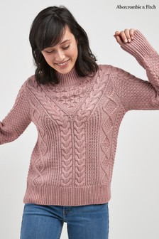 Abercrombie & Fitch Pink Cable Knit