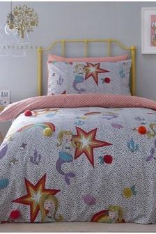 Appletree Mermaid Pom Pom Duvet Cover and Pillowcase Set