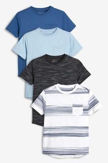 db9e3cadde41 Textured Short Sleeve T-Shirts Four Pack (3-16yrs)