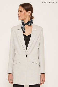 Mint Velvet Grey Longline 80's Style Single Breasted Blazer