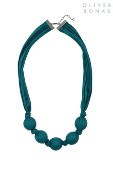Oliver Bonas Blue Marguerite Ribbon Wrapped Necklace