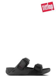 FitFlop™ Black Gogh Leather Slide Sandal