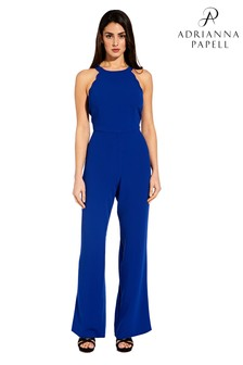Adrianna Papell Blue Scalloped Halter Jumpsuit
