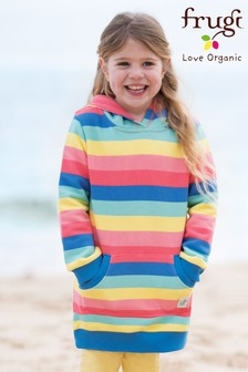Frugi Organic Pink Hoody Dress With Pockets
