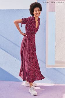 French Connection Pink Multi Tie Sleeve Maxi Dress