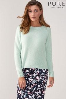 Pure Collection Green Cashmere Lofty Sweatshirt
