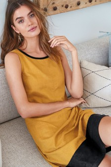 Colourblock Linen Blend Shift Dress