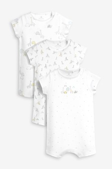 Delicate Giraffe Print Rompers Three Pack (0mths-2yrs)