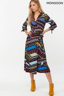 Monsoon Ladies Blue Rhea Print Midi Dress