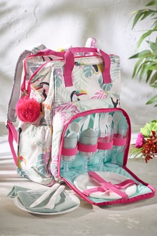 4 Person Toucan Print Filled Picnic Backpack