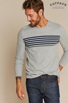 FatFace Grey Millbrook Stripe Tee