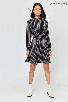 Warehouse Black Stripe Wrap Tie Shirt Dress