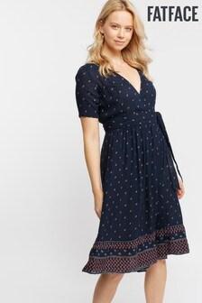 FatFace Blue Willa Foulard Ditsy Wrap Dress