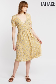 FatFace Yellow Willa Poppies Wrap Midi Dress