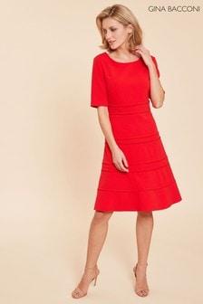 Gina Bacconi Red Brie Crepe Dress