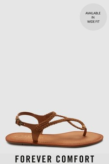 Forever Comfort® Plaited Toe Thong Sandals