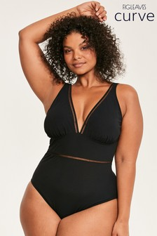 Figleaves Black Icon Milan Non Wired Plunge Swimsuit - Curve