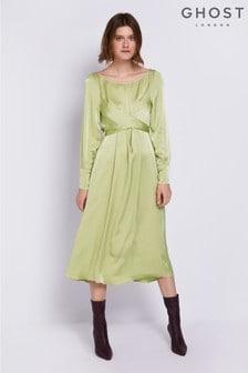 Ghost London Green Cassie Chartreuse Satin Dress