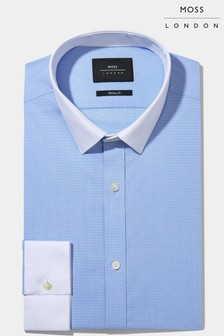 Moss London Skinny Fit Sky Contrast Collar And Cuff Shirt