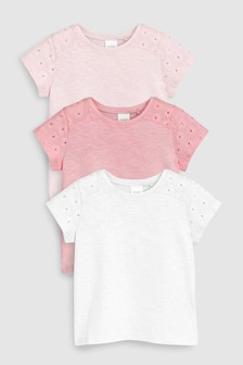 Broderie Short Sleeve T-Shirts Three Pack (3mths-7yrs)