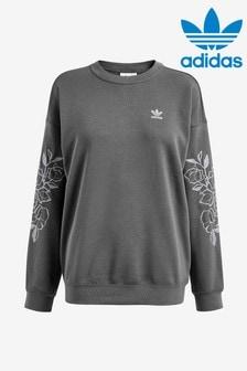 adidas Originals Grey/Lilac Floral Boyfriend Sweat Top