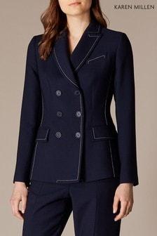 Karen Millen Blue Contrast Stitch Bianca Jacket