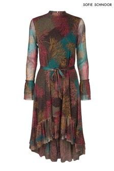 Sofie Schnoor Feather Print Metallic Hi Low Dress