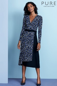 Pure Collection Blue Jersey Midi Wrap Dress