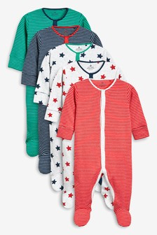 Stripe And Star Sleepsuits Five Pack (0mths-2yrs)