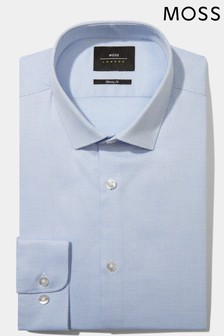 Moss London Skinny Fit Sky Oval Textured Stretch Shirt