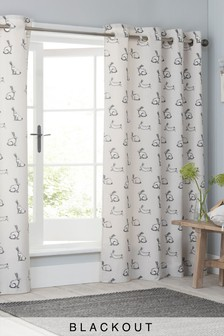 Sketched Bunnies Blackout Eyelet Curtains