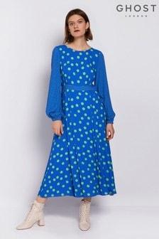 Ghost London Blue Emily Spot Print Crepe Dress