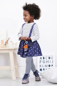 Embroidered Skirt, T-Shirt And Tights Set (3mths-7yrs)