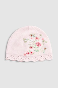 Floral Embroidered Knitted Hat (0mths-2yrs)