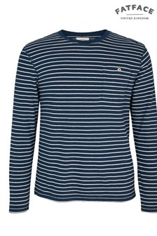 FatFace Lake Blue Newenden Stripe Crew Neck T-Shirt