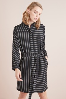 Stripe Belted Shirt Dress